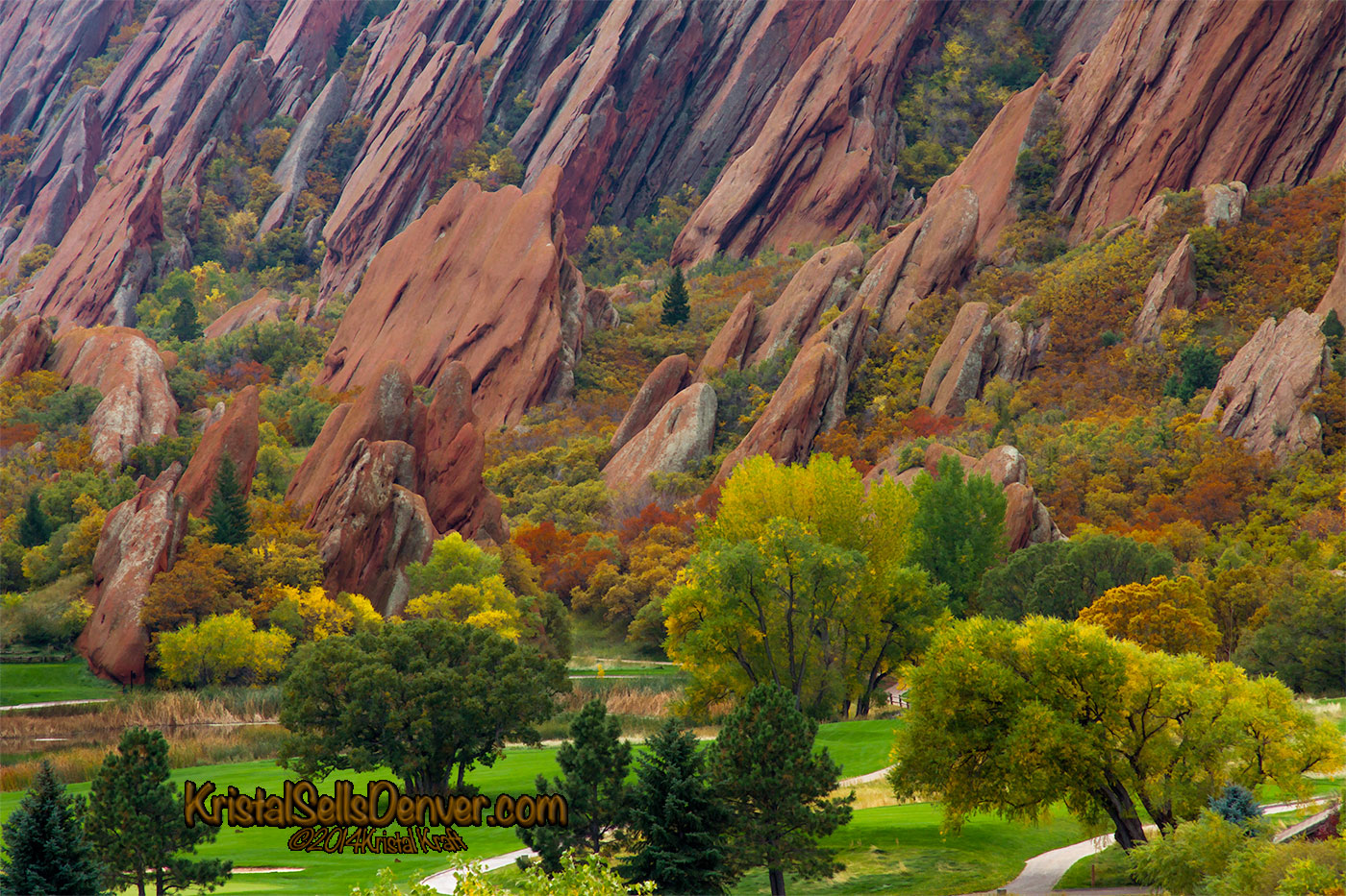 Colorful rocks and autumn trees at Arrowhead Golf Cource