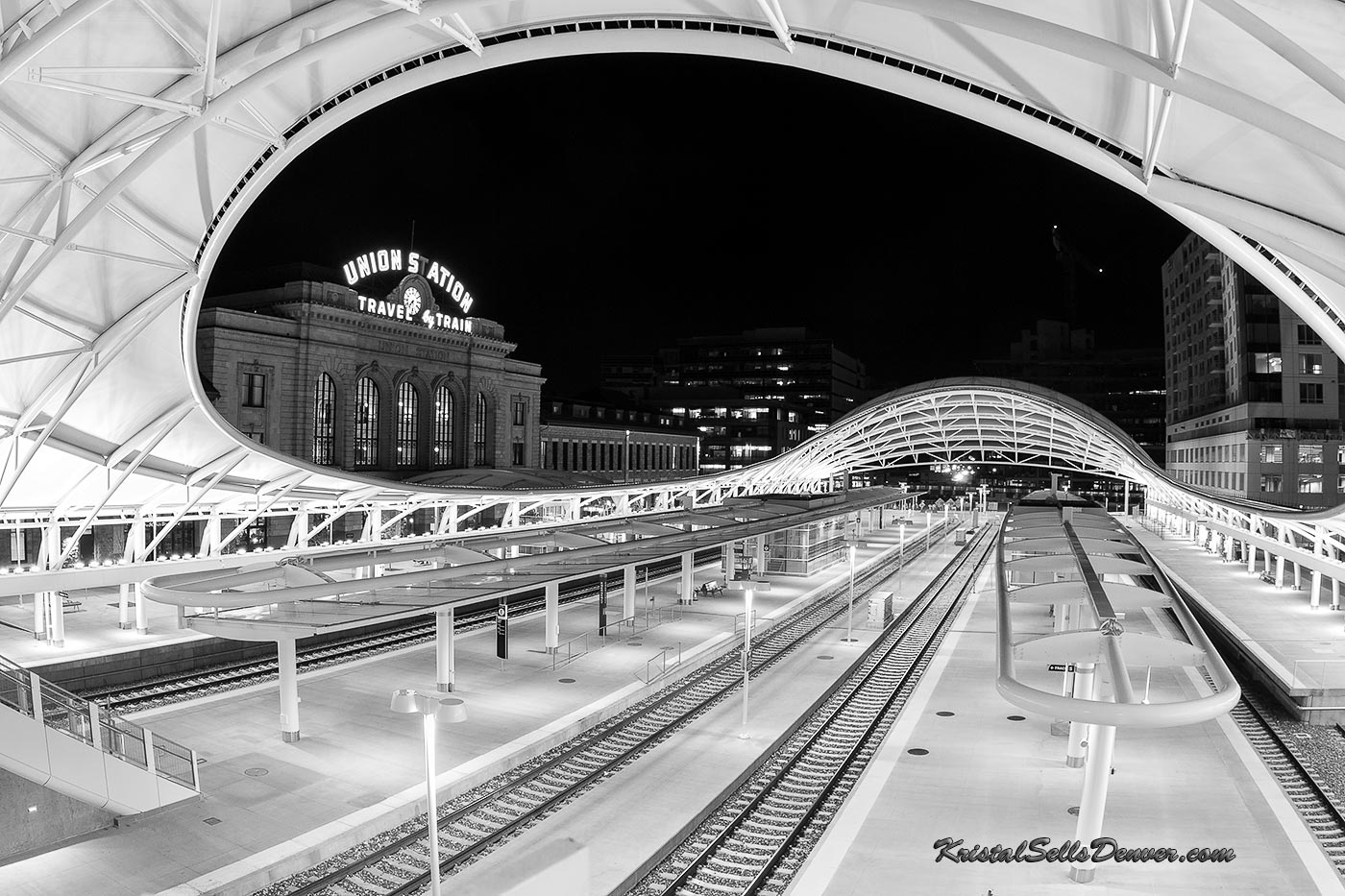 Black and white version of Denver's Union Station at night