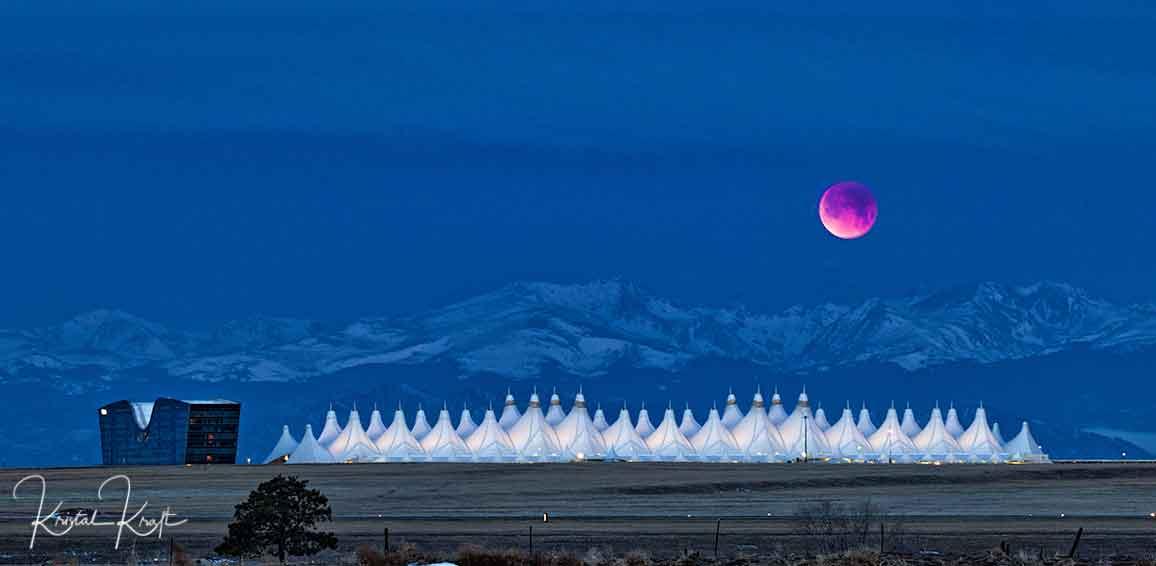 blood moon over Denver International Airport